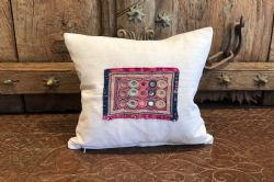 Cushion made with vintage french linen and antique embroidery